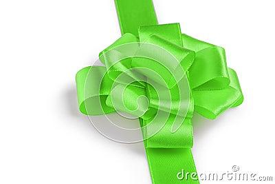 Green ribbon bow angle photo