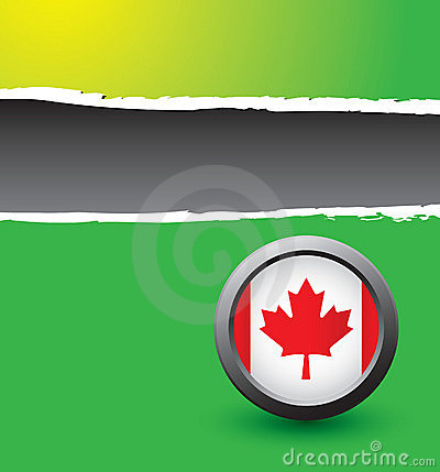 Green ripped banner with canadian flag