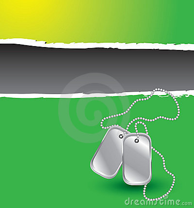 Green ripped banner with dog tags
