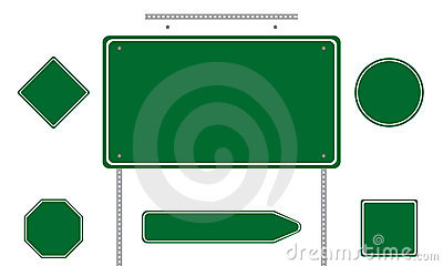 Green road signs