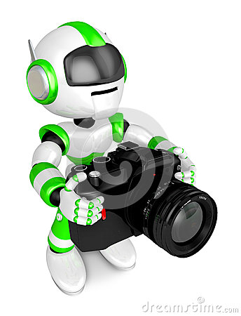Green robot character the front to shoot the camera toward