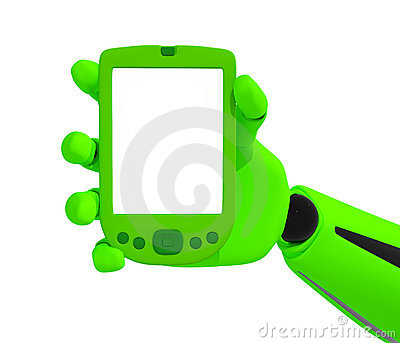 Green robotic hand hold a blank mobile phone