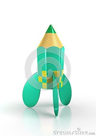 Green rocket pencil