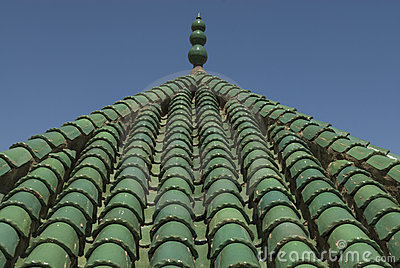 Green roof tiles Fez, Morocco