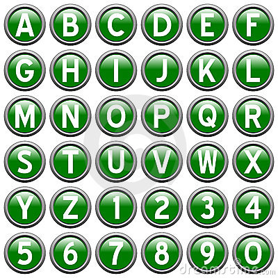 Green Round Alphabet Buttons