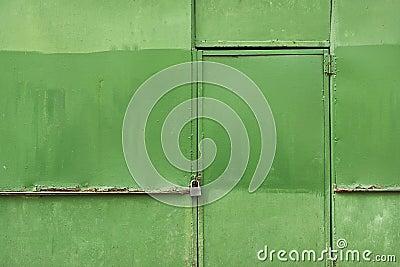 Green rusty metal wall