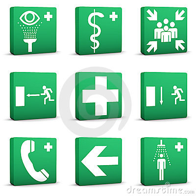 Green Safety Signs - Set 01