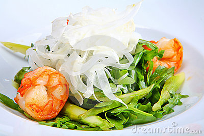 Green salad with king prawns