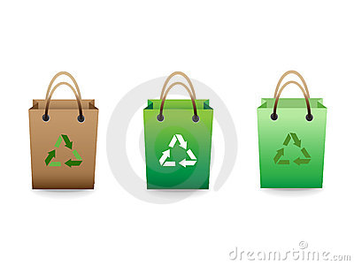 Green sale shopping bags with recycle sign