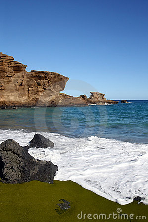 Green sand beach on Hawaii