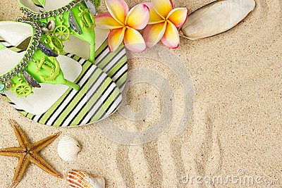 Green Sandals, on sand