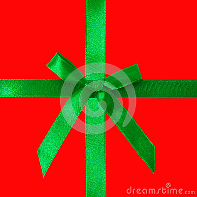 Green satin bow on red