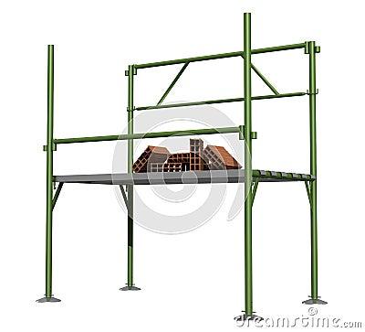 Green scaffold  with bricks