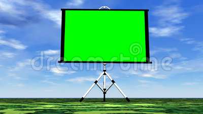 Green screen in nature - 3D render. Green screen in nature by beautiful day with little clouds stock illustration