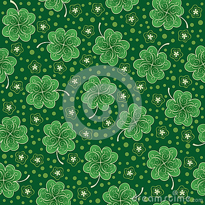 Green seamless background with shamrock