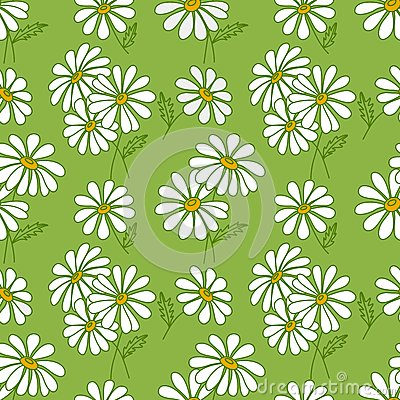 Green seamless daisy pattern.