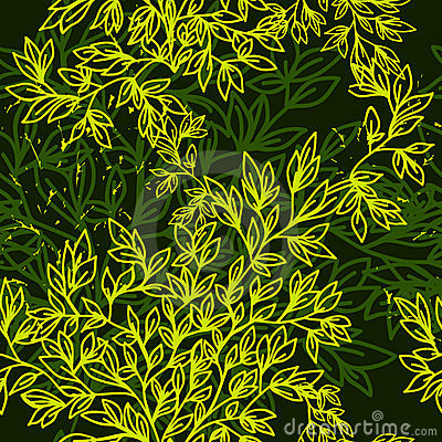 Green seamless pattern with leaves