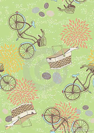 Free Green Seamless Pattern With Bicycles Stock Image - 24164611