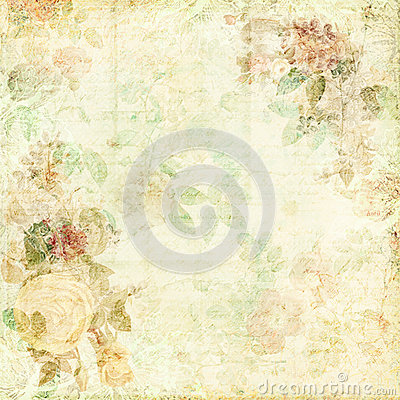 Free Green Shabby Chic Background With Flowers Stock Photo - 38145440