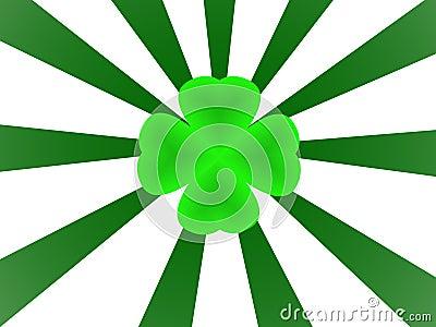 Green shamrock and sunburst