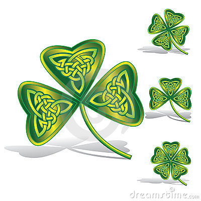 Green shamrocks with celtic knots