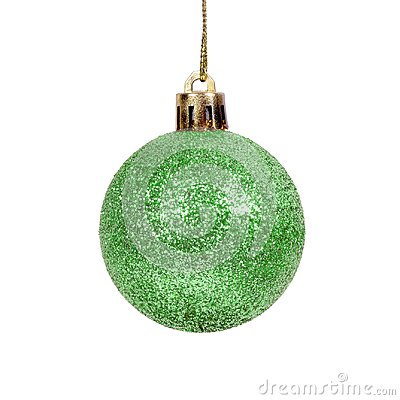 Free Green Shiny  Christmas Ball Isolated White Background Stock Photo - 102785660