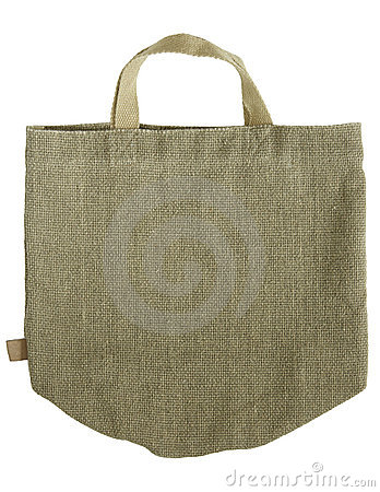 Green shopping fabric bag on white