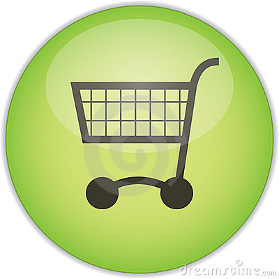 Green shopping trolley button