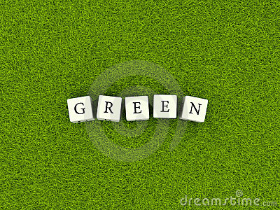 Green sign on grass