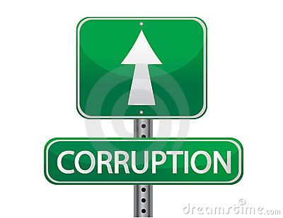 Green sign with the word corruption
