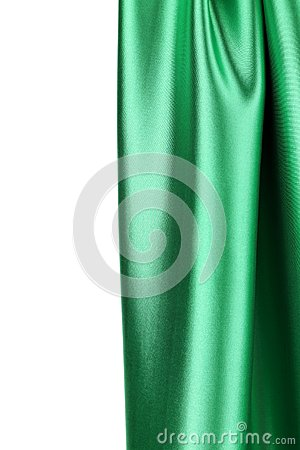 Green silk drape