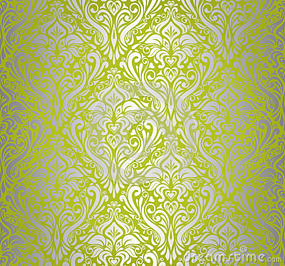 Green Amp Silver Vintage Wallpaper Royalty Free Stock
