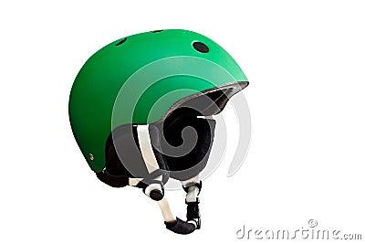 Green ski helmet.