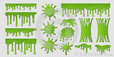 Green slime. Goo paint drip, spooky liquid borders, toxic sticky shape on white. Slime splash blobs and green Vector Illustration