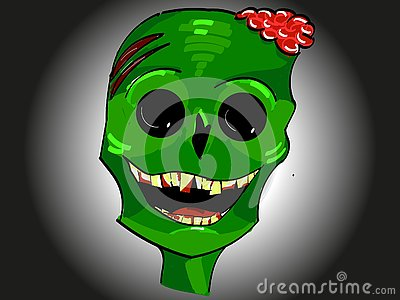Green smiling zombie head icon with brains and yellow teeth for Halloween Vector Illustration