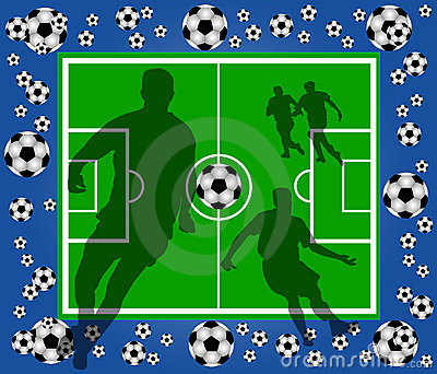Green soccer field with player silhouettes