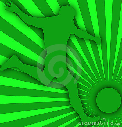 Green soccer player background