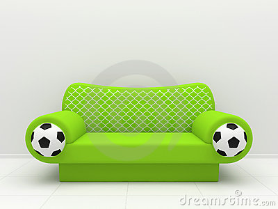 Green sofa with football symbolics