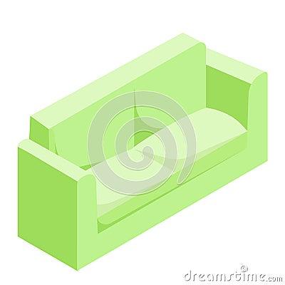 Green sofa. isometric vector Vector Illustration