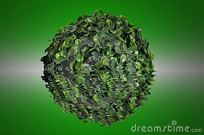 Green sphere from small leaf