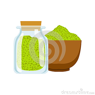 Green spices in a wooden platter and spoon. Colorful cartoon illustration Vector Illustration
