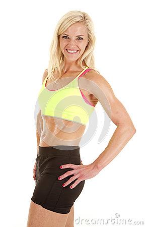 Green sports bra woman smile side
