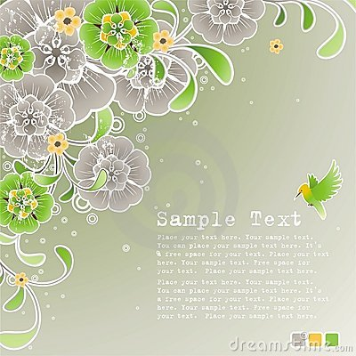 Free Green Spring Background With Floral Ornament Royalty Free Stock Images - 10211529
