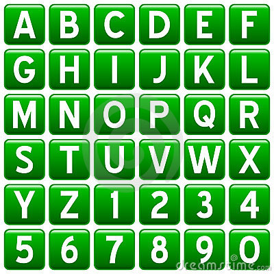 Green Square Alphabet Buttons
