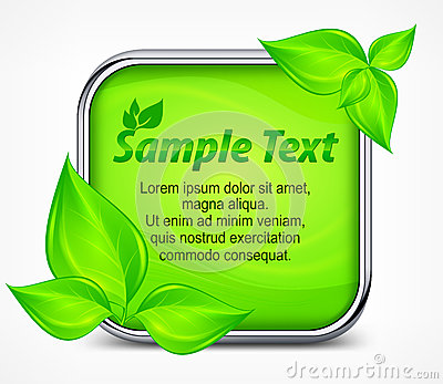 Green square icon with leaves