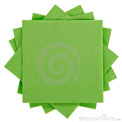 Green square paper serviette (tissue)