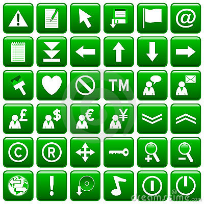 Green Square Web Buttons [2]