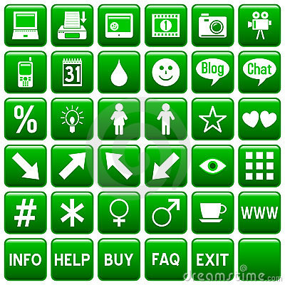 Green Square Web Buttons [4]