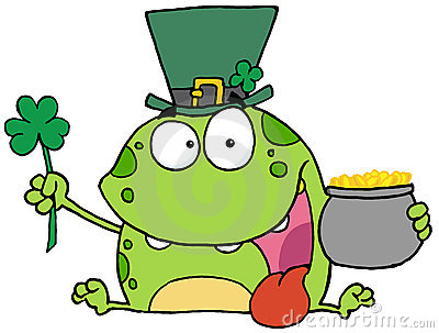 Green St Patricks Day Leprechaun Frog Wearing A Ha