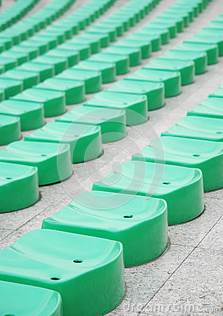 Green stadium seats